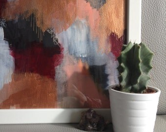 A4 Framed Original Abstract Painting- Rose Copper Aesthetic
