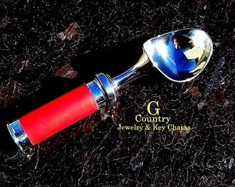 Ice cream scoop with 12 gauge shot shell handle, Gift, bar accessory, kitchen accessory, unique, handmade, serving accessory, bullet