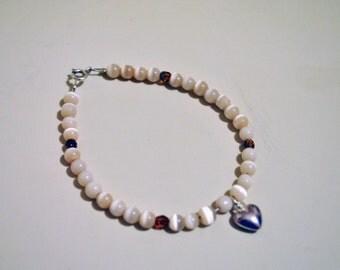 Handmade Sterling silver cats eye bead bracelet
