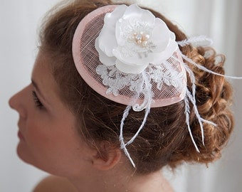 Bibi, Fascinator, Bridal Fascinator, Bridal accessories, Bridal headpiece, dramatic headpiece, Pink bridal accessories, French designer Bibi