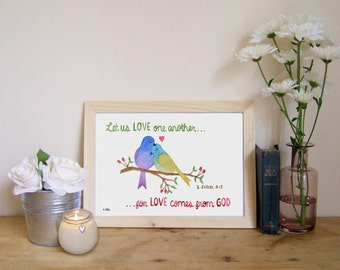"Watercolour Print - 1 John 4:7 (Christian Bible verse) ""Let us Love One Another, for Love Comes From God"""
