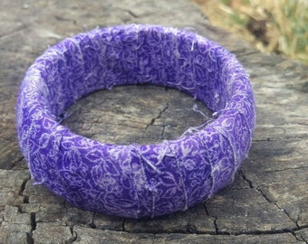 Purple vines fabric bangle