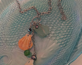 Sea glass and shells necklace
