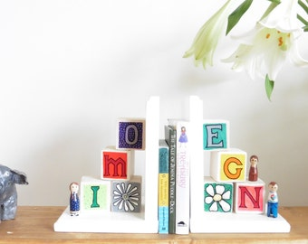 Personalised Building Block Bookends