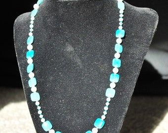 Blue Square and Pearl Necklace