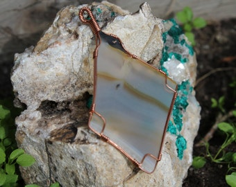 Natural River Agate Stone Wrapped in Copper Wire, Wrapped Stone, Wire Wrapped