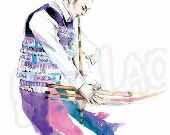 "Hmong Art Painting- ""The Qeej Player"""