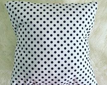 Black and white polka dots pillow cover | 16X16 polka dot pillow form | throw pillow case |