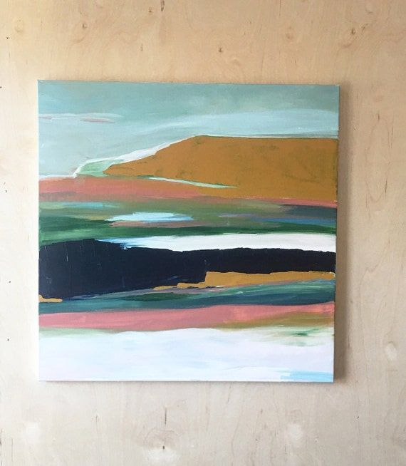 Modern abstract landscape painting original and print - pink and blue