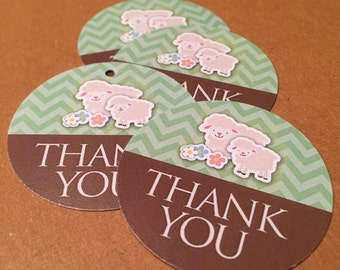 Favor Tags - Lamb - Thank you - Set of 20