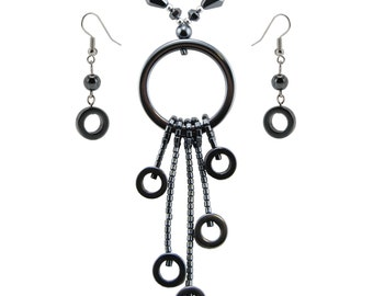 Hematite Circle Y - Drop Necklace / Earring Set