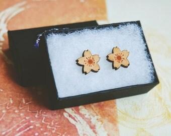 Wooden Flower Stud Earrings