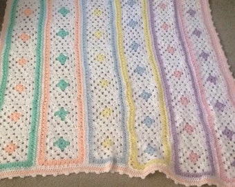 Beautiful hand crocheted baby crib or carraige blanket. Great for boy or girl
