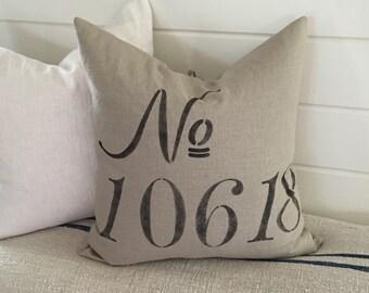 House Number Pillow, Farmhouse Linen