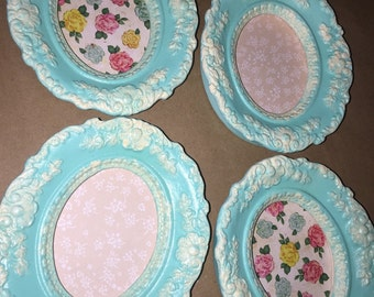 Shabby chic vintage ceramic frames (set of 4) (teal, oval)