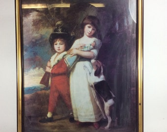 Renaissance print of child ,baby doll & dog frame 18in. x 22in.