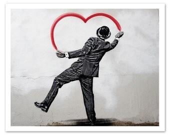 Paris Graffiti Photography Je t'aime ce beaucoup, Paris Print, Fine Art Photography, Gift for Her, Heart, Black & White, Street Art, Paris