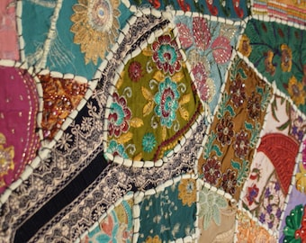 Vintage Sari patchwork table runner wall hanging - Tablecover runner Wallhanging
