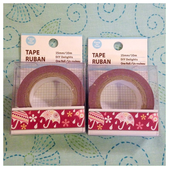 2 rolls of decorative paper craft tape in raindrops red for Decorative paper rolls