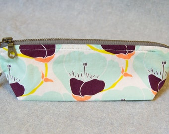 Cotton Pencil or Notions Bag with Zipper- Nesting Blooms (Pencil Case, Notions Bag, Cosmetics Brush Bag)