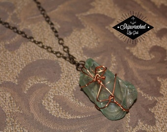 Washed Ashore Sea Glass Collection, pale green sea glass necklace with copper wire & bronze chain