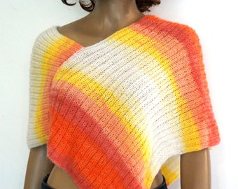 Hand knitted poncho for Women Girls Gift idea for her Orange pink coral yellow white colors Poncho for all seasons Cover-up top knit shawl