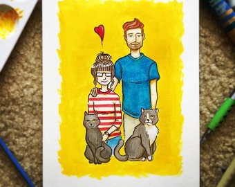 Custom Family Portrait 6in x 8in