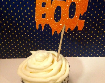Boo! Cupcake Toppers Picks, set of 12 - Halloween Party Decorations