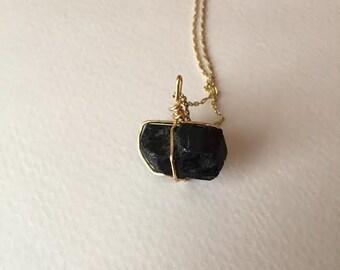 Medium Black Tourmaline Pendant Necklace