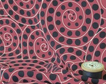 Ammonite Red silk crepe de Chine