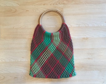 Multi-color Macrame Purse with Bamboo handles