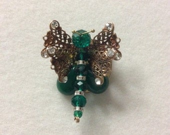 Butterfly brooch with jade
