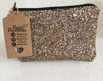 Confetti gold glitter clutch bag, gold evening bag, prom bag