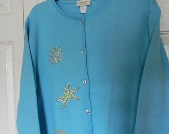 Vintage late 80,' early 90,s Agua  color sweater seashells, large ,Tia Designs