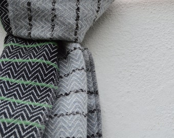 Chevron Charcoal and Light Grey Handwoven Scarf