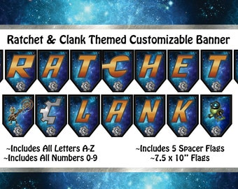 Ratchet and Clank Themed Customizable  Banner