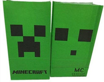 Set of 5 Minecraft Inspired Creeper Favor or Popcorn Bags - Perfect for your next Minecraft Birthday Party!