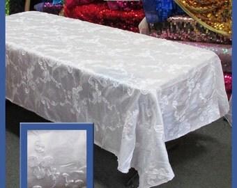 White Ribbon Taffeta 58 X 108 Rectangle Tablecloth
