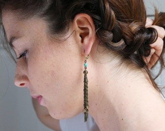 Long ear loops chain brass turquoise and feathers, Bohemian-chic style, Made in Paris