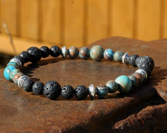 Lava and India Agate Bracelet Mens or Womens,