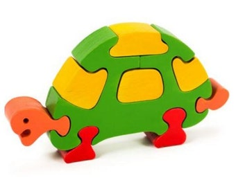 Colourful Turtle Handcrafted Wooden Jigsaw Puzzle