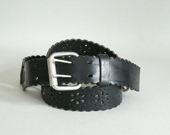Size 40 -42  Black Leather Western Belt With Cutouts