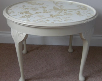 Coffee / side table in ochre over old white basecoat, shabby chic distressed