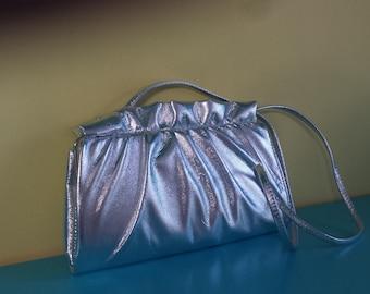 80s vintage Silver clutch or cross body shoulder bag