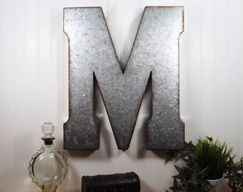 large metal letter 20 inch metal letter wall decor galvanized letter tin letter shabby chic letter boho letters country chic