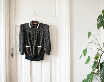 70s black & white collar blouse puffed sleeve blouse office blouse 3 4 sleeve top 5 6 size blouse ACT 1 New York XS S blouse stylish blouse