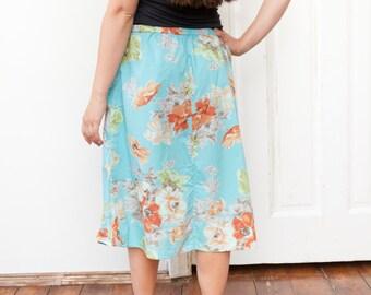 90s baby blue skirt vintage cotton summer skirt blossom skirt chic midi skirt 90's fashion office skirt light blue skirt size M L size 42