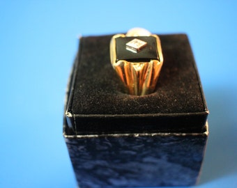 14 K Gold Electroplated size 12 Ring with Diamond Chip