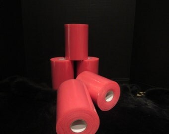 "close out CORAL TULLE ROLL 6"" X 100 Yards"