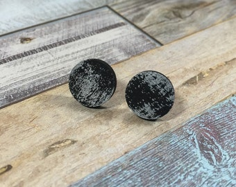 Hand Painted Black with Silver specks stud earrings/ black and silver/ gifts for her/ cute earrings/